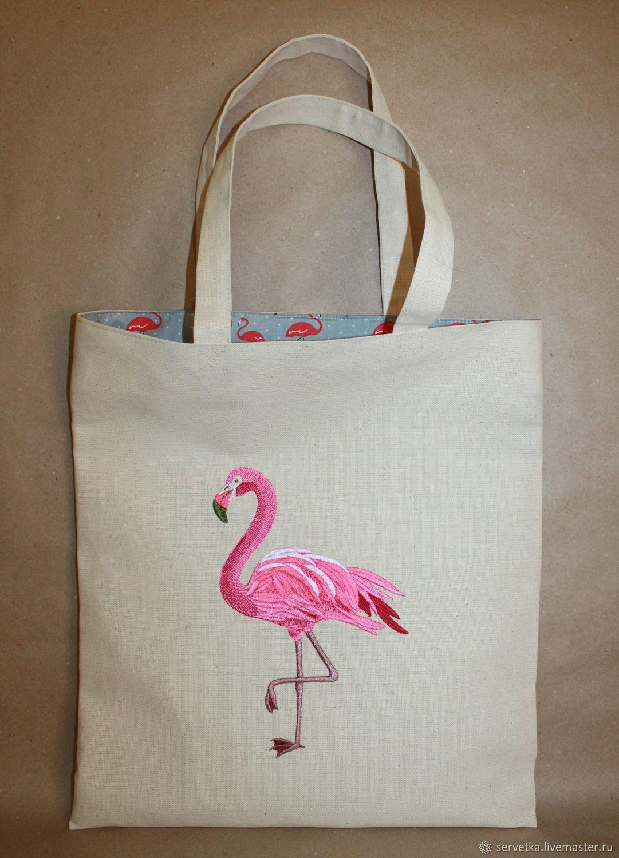 6daa9229b2b3 Холщовая сумка с ярким внутренним миром и вышивкой `Фламинго` снаружи  подчеркнет индивидуальность ее обладательницы ...