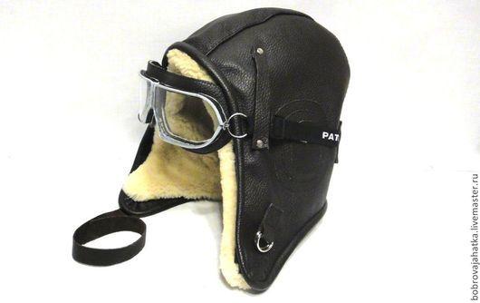 Шапки ручной работы. Ярмарка Мастеров - ручная работа. Купить Кожаный шлем летчика кожа овчина Зимняя шапка Подарок мужчине девушке. Handmade.