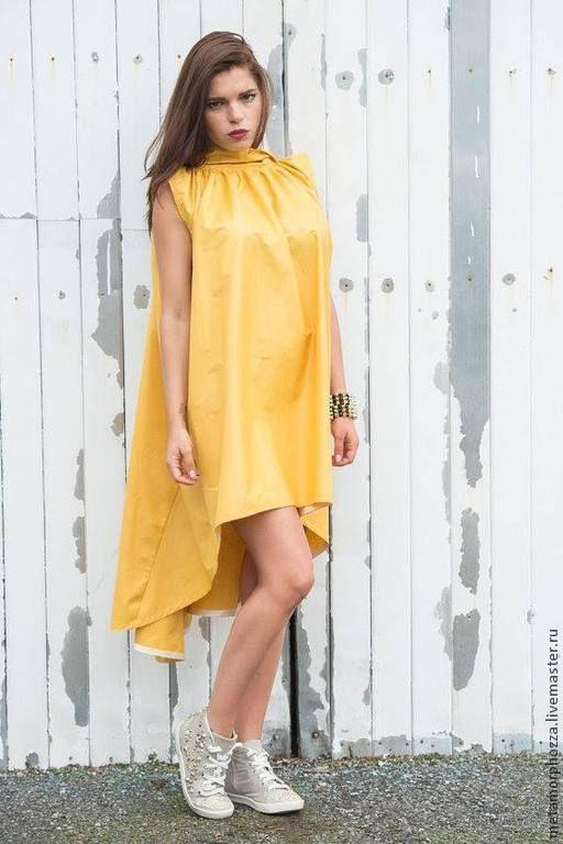 Платья ручной работы. Ярмарка Мастеров - ручная работа. Купить Желтое короткое платье, летнее платье. Handmade. Желтый, туника