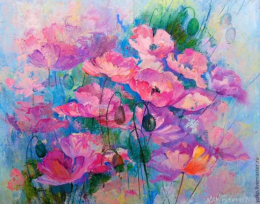 """Картины цветов ручной работы. Ярмарка Мастеров - ручная работа. Купить Картина """"Розовые маки"""" (масло, холст). Handmade. Розовый"""