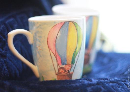 Кружки и чашки ручной работы. Ярмарка Мастеров - ручная работа. Купить Воздушный шар - парные чашки для влюбленных или на свадьбу (0102). Handmade.
