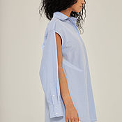 Одежда handmade. Livemaster - original item A loose-fitting button-down shirt with slits in a blue check pattern. Handmade.