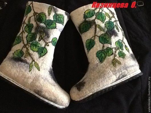 """Обувь ручной работы. Ярмарка Мастеров - ручная работа. Купить Валенки """"Берёзка"""". Handmade. Белый, валенки для улицы, валенки на подошве"""
