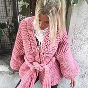 Одежда handmade. Livemaster - original item Pink cardigan with belt. Handmade.