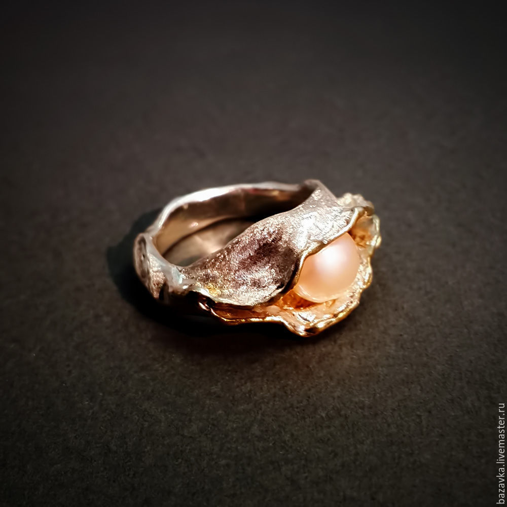 Кольца ручной работы. Ярмарка Мастеров - ручная работа. Купить Серебряное  кольцо с жемчугом