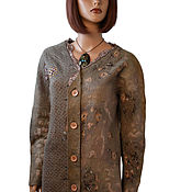 Одежда handmade. Livemaster - original item Felted wool cardigan, beige jacket