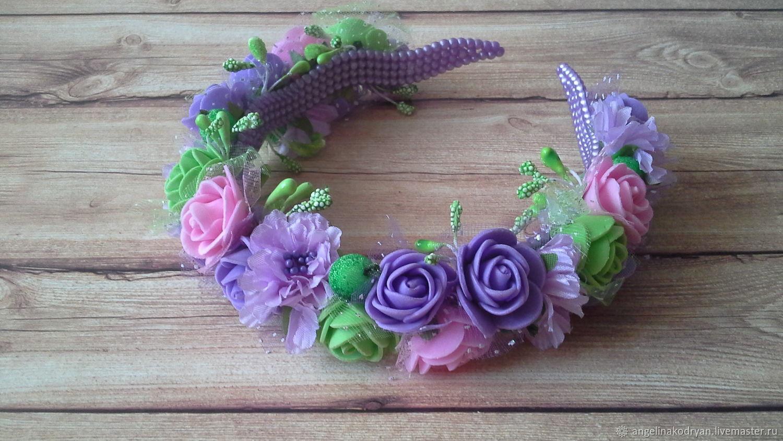 Purple pink headband with small roses of Tamarana, Children\'s tiaras, Belgorod,  Фото №1