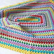 """Для дома и интерьера ручной работы. Ярмарка Мастеров - ручная работа Плед детский вязаный крючком в технике Бабушкин квадрат """"Разноцветный"""". Handmade."""