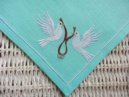 Свадебные салфетки с вышивкой в стиле Тиффани `Голуби`. `Шпулькин дом` мастерская вышивки