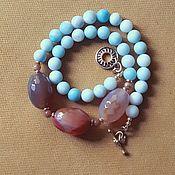 Работы для детей, handmade. Livemaster - original item Agate and Amazonite Nocturne Beads. Handmade.