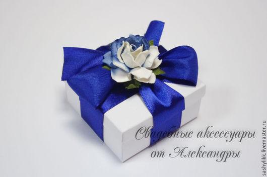 Свадебные аксессуары ручной работы. Ярмарка Мастеров - ручная работа. Купить Бонбоньерка, синий цветок. Handmade. Бонбоньерка, упаковка, для подарка
