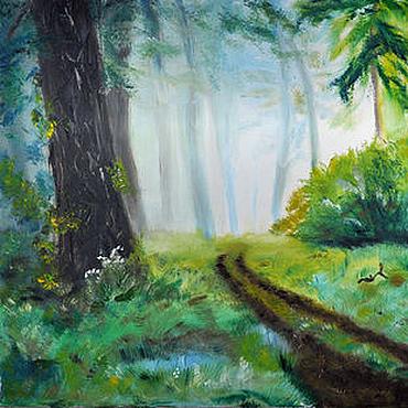 """Картины и панно ручной работы. Ярмарка Мастеров - ручная работа Картина маслом """"Таинственный лес"""". Handmade."""