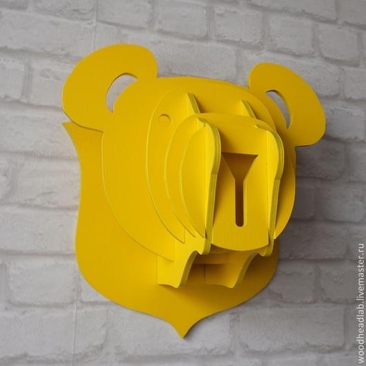 Животные ручной работы. Ярмарка Мастеров - ручная работа. Купить Голова Медведя. Handmade. Желтый, панно на стену, голова, трофей