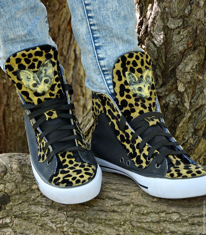 Leopard - Sphinx cat - SNEAKERS handmade - unusual shoes.