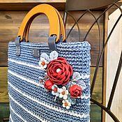 handmade. Livemaster - original item Bag Sea Close Genuine Leather Blue White Red Raffia Flowers. Handmade.