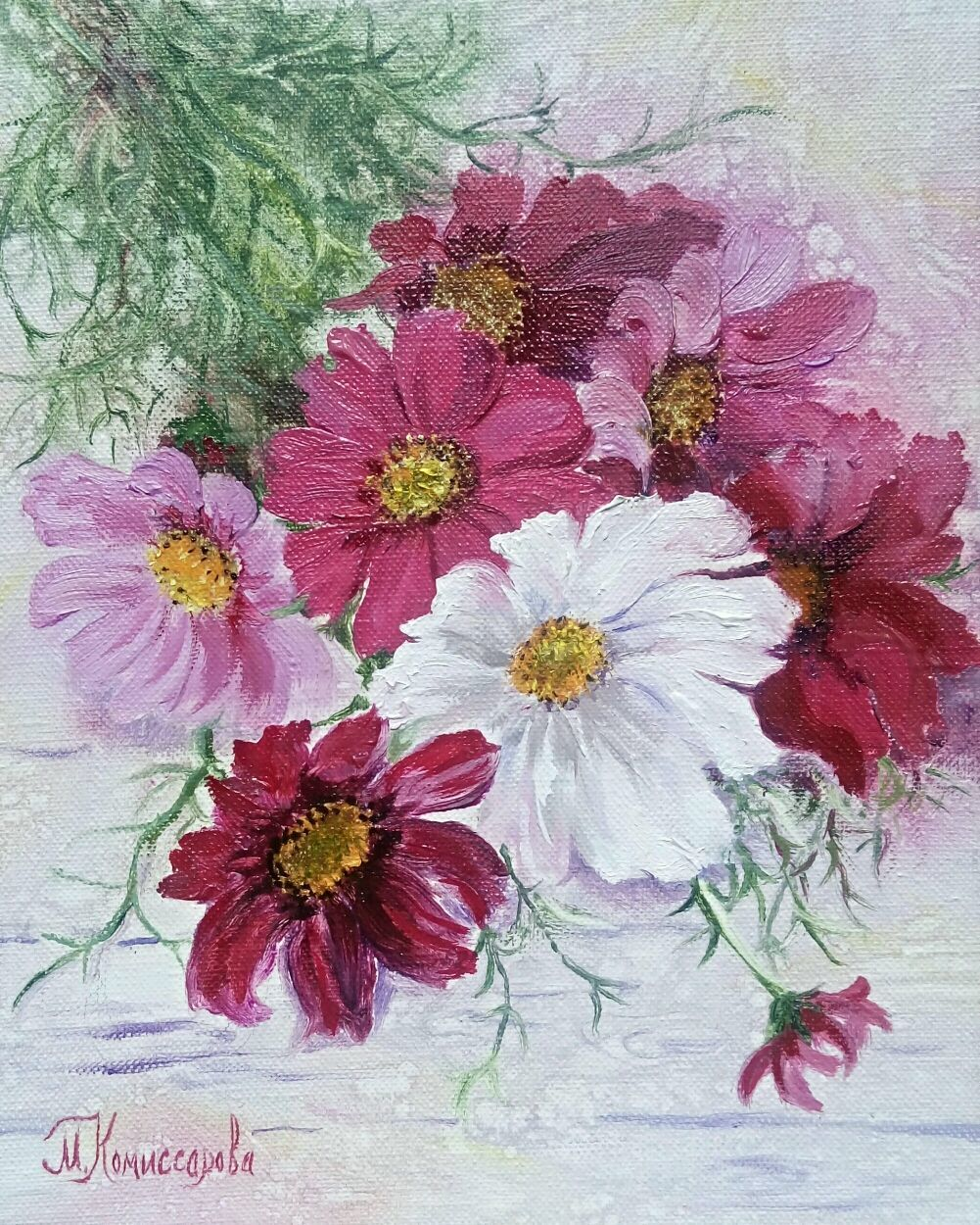 Painting with flowers Bouquet of Cosmos, Pictures, Krasnodar,  Фото №1