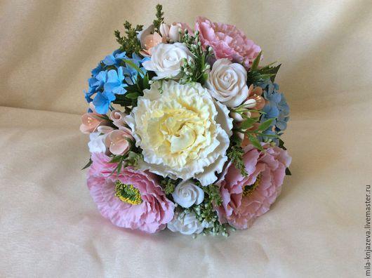 """Свадебные цветы ручной работы. Ярмарка Мастеров - ручная работа. Купить Букет невесты из полимерной глины """" Счастье """". Handmade."""