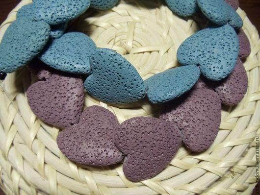 Для украшений ручной работы. Ярмарка Мастеров - ручная работа. Купить Лава бусины-сердечки фиолетового и синего цвета. Handmade.