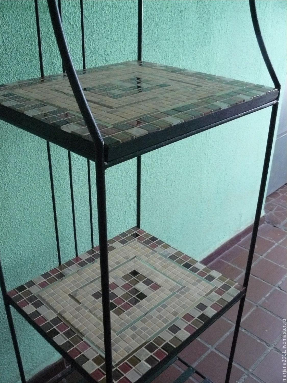 Wrought iron shelves mosaic shelves \