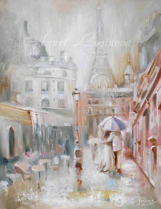 Город ручной работы. Ярмарка Мастеров - ручная работа. Купить Париж в дожде. Handmade. Подарок влюбленным, серый, он и она, Париж