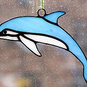 Витражи ручной работы. Ярмарка Мастеров - ручная работа Стеклянная подвеска-дельфин из витражного стекла.. Handmade.