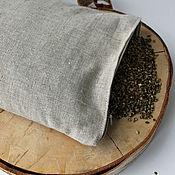 Для дома и интерьера handmade. Livemaster - original item Travel pillow made of flax with a filler from the husk of hemp seeds.. Handmade.