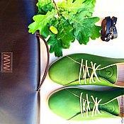 Обувь ручной работы. Ярмарка Мастеров - ручная работа Зеленые ботинки ручной работы. Handmade.