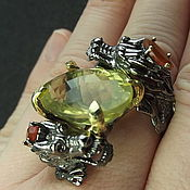 Украшения handmade. Livemaster - original item Dragon Mother ring with citrine and carnelian.. Handmade.