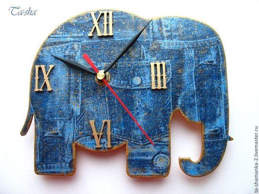 часы настенные, часы в детскую, часы слоник, подарок ребенку на день рождения, детские часы, ручная работа
