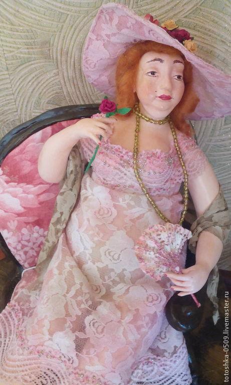 Коллекционные куклы ручной работы. Ярмарка Мастеров - ручная работа. Купить Летний вечер на терассе. Handmade. Разноцветный, Вышивка бисером