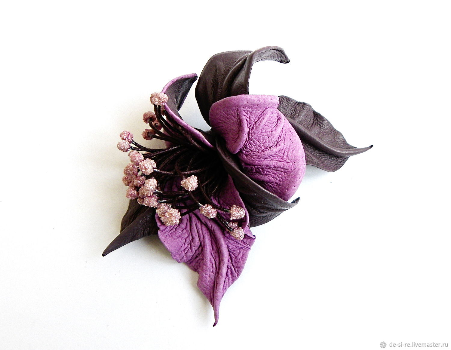 Brooch flower leather 'Stormy' purple bluish purple, Brooches, Moscow,  Фото №1