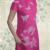 Одежда ручной работы. Ярмарка Мастеров - ручная работа платье с ручной вышивкой Бабочки - 3. Handmade.