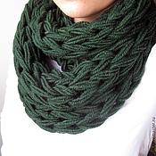 Аксессуары ручной работы. Ярмарка Мастеров - ручная работа НА ЗАКАЗ Шарф Зеленый вязаный руками шарф-снуд крупной вязки. Handmade.
