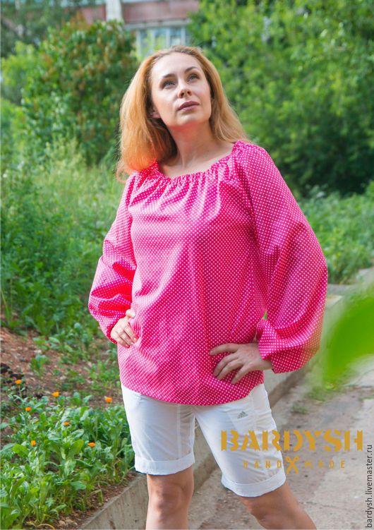 Блузки ручной работы. Ярмарка Мастеров - ручная работа. Купить Блуза из хлопка малиновая. Handmade. Малиновый цвет, с широкими рукавами