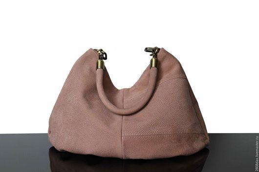 Женские сумки ручной работы. Ярмарка Мастеров - ручная работа. Купить Замшевая сумочка, сумка из замши, пудровый, хобо, удобная сумка. Handmade.
