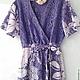 Пляжные платья ручной работы. Ярмарка Мастеров - ручная работа. Купить Пляжное платье с запахом сиреневого цвета из гипюра и хлопка. Handmade.