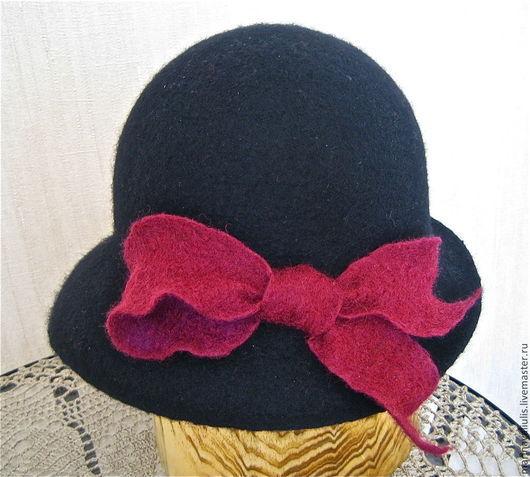 """Шляпы ручной работы. Ярмарка Мастеров - ручная работа. Купить Валяная шляпка  """"Вечерний блюз"""". Handmade. Черный, шляпка"""