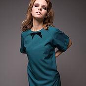 Одежда ручной работы. Ярмарка Мастеров - ручная работа Голубое платье-трапеция с черным бархатным бантом. Handmade.