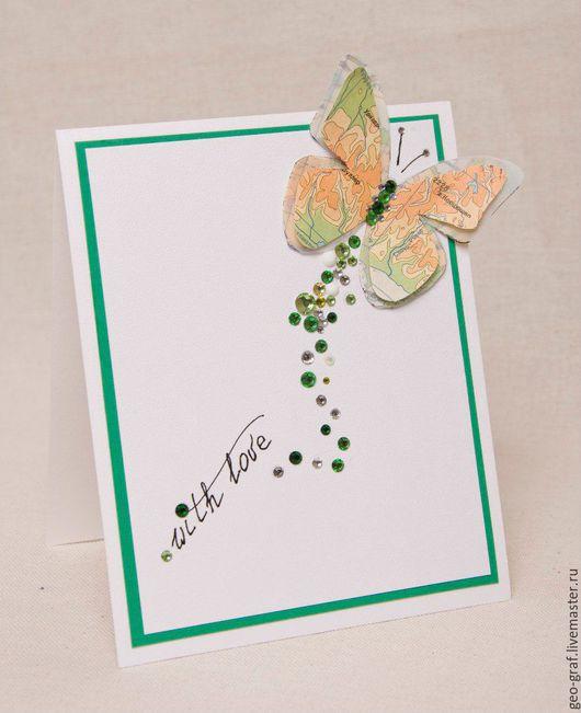 Открытки на все случаи жизни ручной работы. Ярмарка Мастеров - ручная работа. Купить Зеленая карта. Handmade. Зеленый, любовь