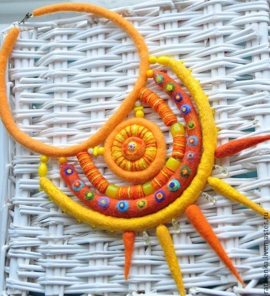 """Колье, бусы ручной работы. Ярмарка Мастеров - ручная работа. Купить Колье """"Лучик Солнца"""". Handmade. Оранжевый, бохо шик"""