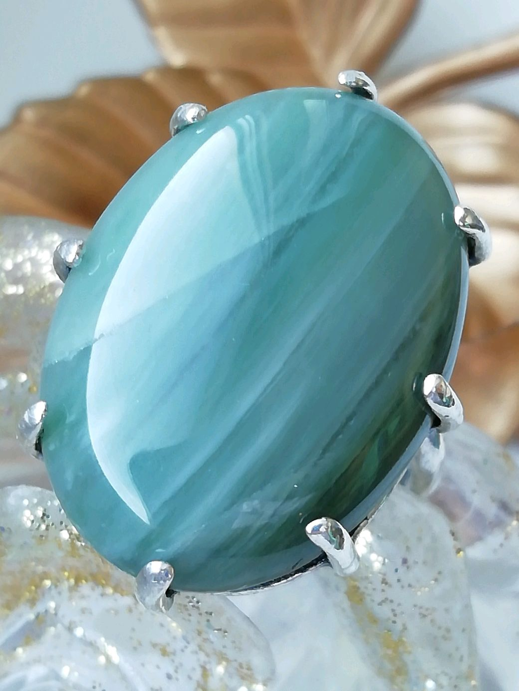 Ring with natural Jasper ' SMOKY GREEN', Rings, Moscow,  Фото №1
