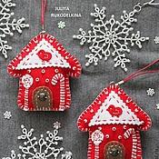 Подарки к праздникам ручной работы. Ярмарка Мастеров - ручная работа Новогодние домики (2 штуки) игрушки на елку.. Handmade.