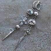 Украшения handmade. Livemaster - original item Asymmetric earrings with topaz and spodumene, silver and goldfield. Handmade.