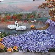 Картины ручной работы. Ярмарка Мастеров - ручная работа Девушка у пруда с лебедями. Handmade.