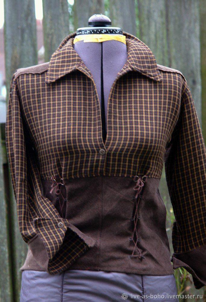 """Блузки ручной работы. Ярмарка Мастеров - ручная работа. Купить клетчатая рубашка """"пыль на горизонте"""". Handmade. Бохо, ковбойская рубашка"""