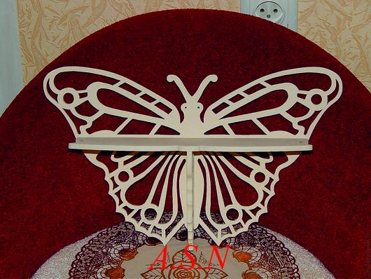 """Мебель ручной работы. Ярмарка Мастеров - ручная работа. Купить Полочка""""Бабочка"""".. Handmade. Комбинированный, для дома и интерьера, пропитка"""