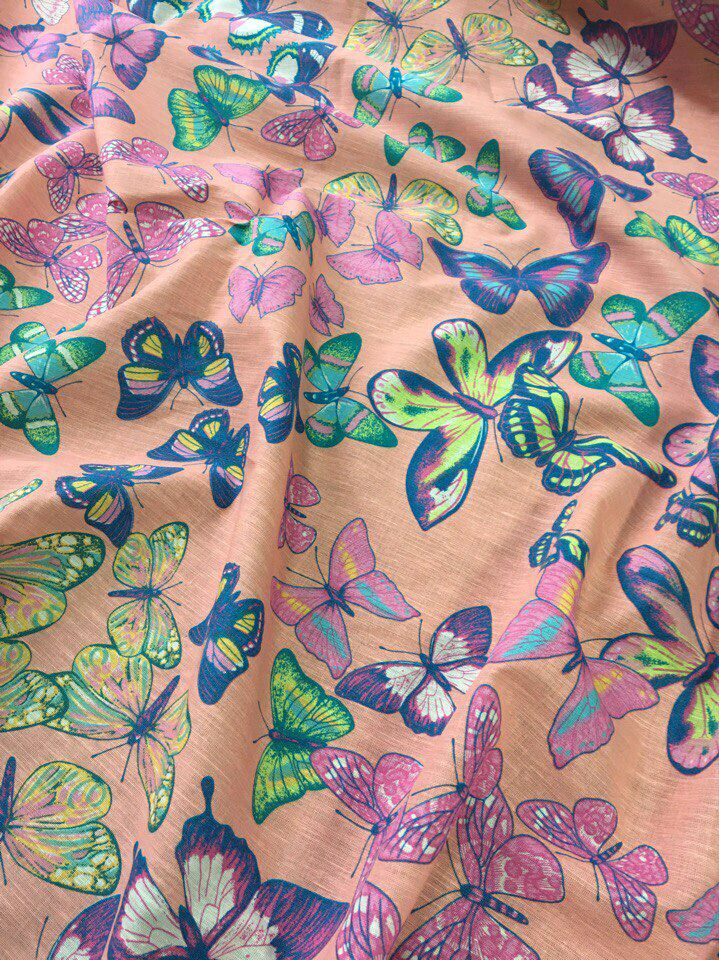 Linen viscose 'Colored butterflies on a pink-peach background', Fabric, Taganrog,  Фото №1