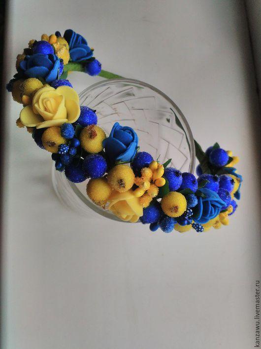 Диадемы, обручи ручной работы. Ярмарка Мастеров - ручная работа. Купить Ободок калина и розы. Handmade. Зеленый, ободок с цветами