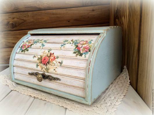 """Кухня ручной работы. Ярмарка Мастеров - ручная работа. Купить Хлебница """"Летний цвет"""". Handmade. Бирюзовый, голубой, для дома, розочки"""
