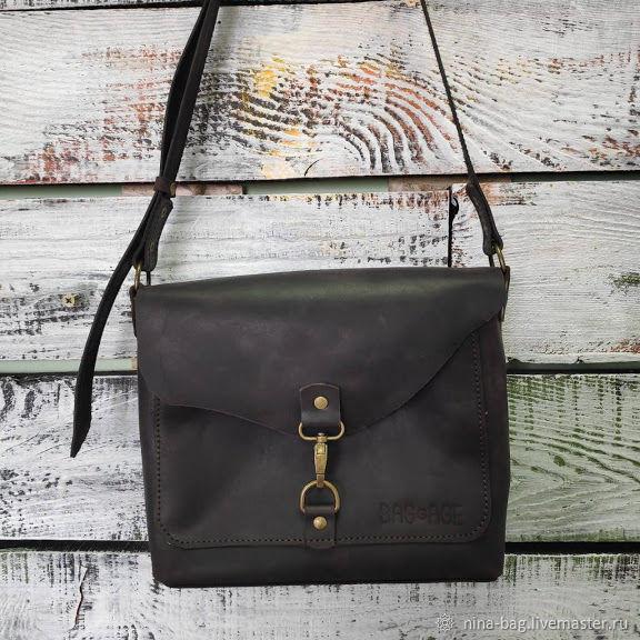 51818c516fe8 Женские сумки ручной работы. Ярмарка Мастеров - ручная работа. Купить Кожаная  женская сумка темно ...
